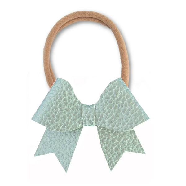 Ellie Seafoam Leatherette Bow Headband