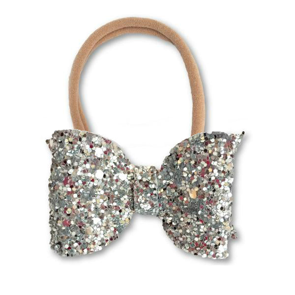 Eva Small Silver Glitter Bow Headband - Apollo & Wynn