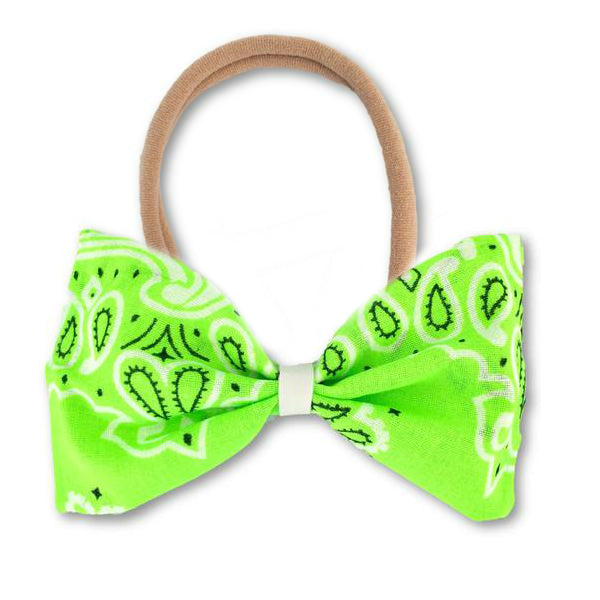 Neon Green Paisley Bow Headband