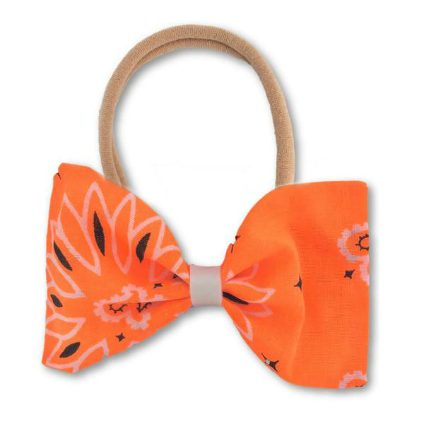 Avery Neon Orange Paisley Bow Headband - Apollo & Wynn