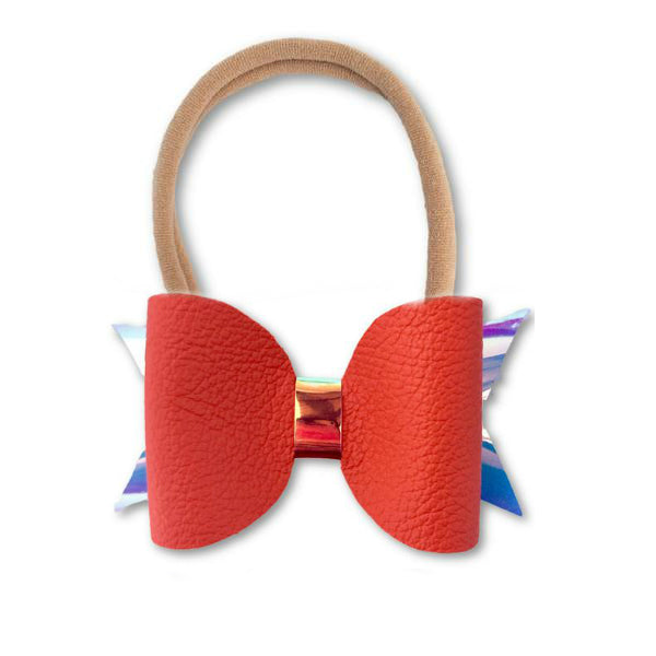 Orange Leather Bow Headband - Apollo & Wynn