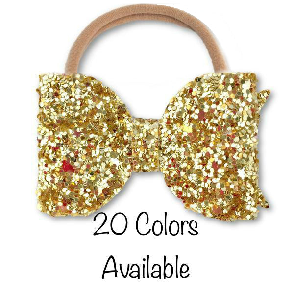 Small Bow (Pick your Glitter) Headband