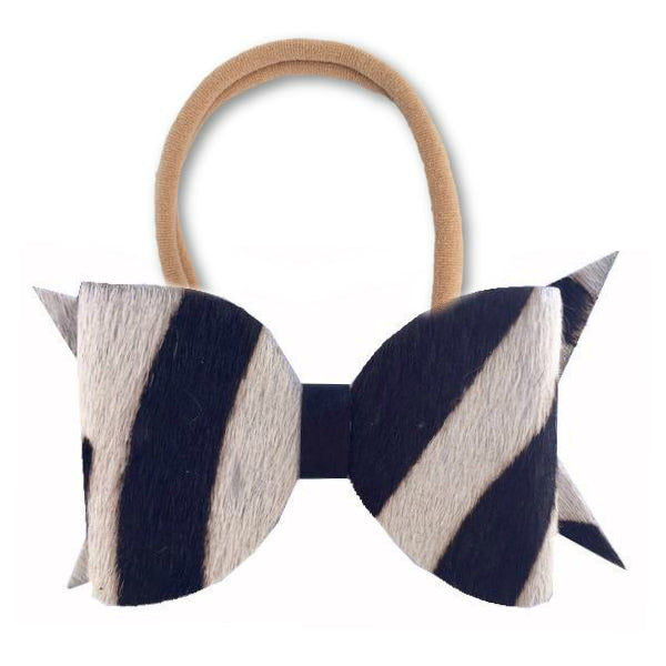 Zebra Faux Fur Hair Bow Headband