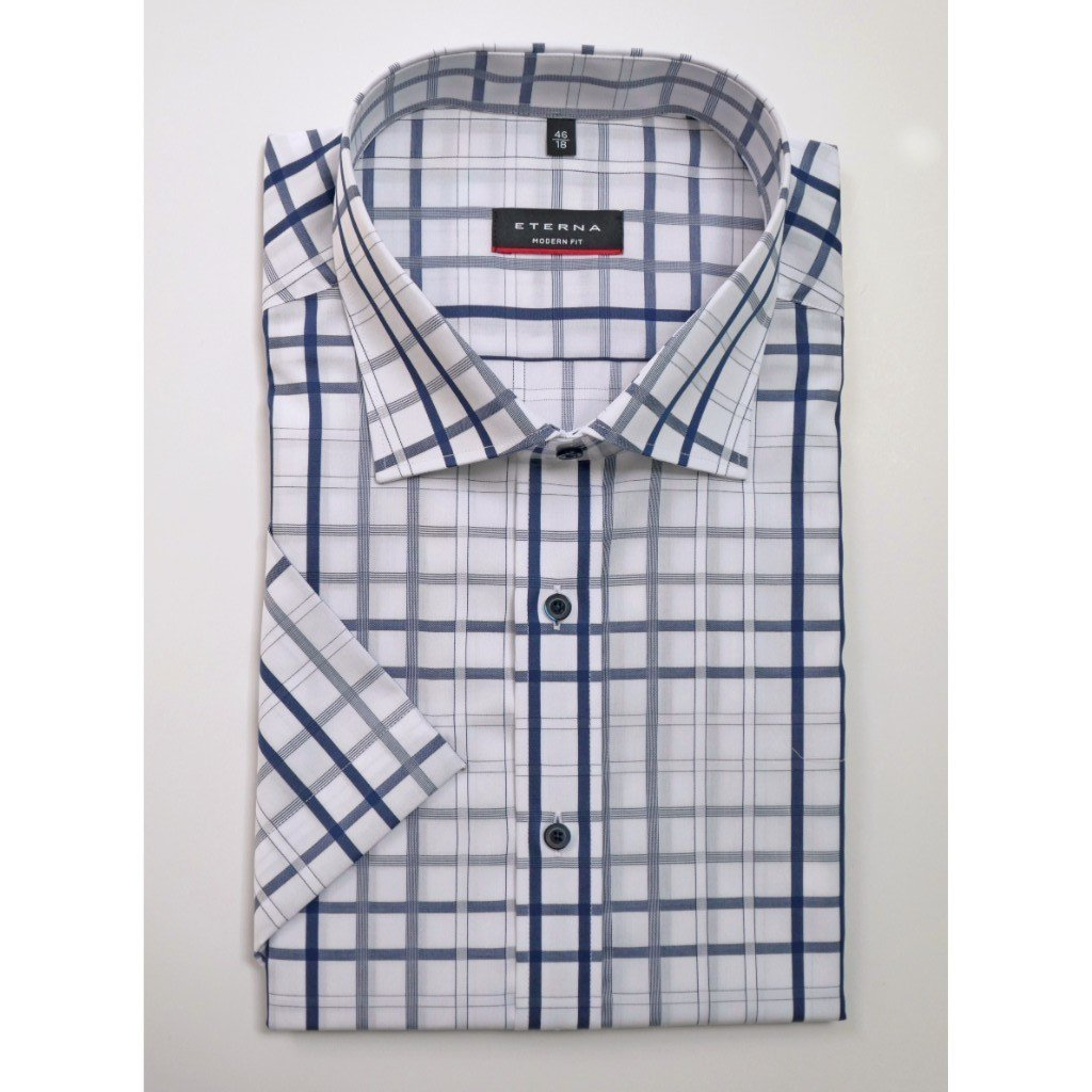 16128c51e912a Eterna Half Sleeve Shirt, 8357, White with Dark Blue Check, Comfort Fit -