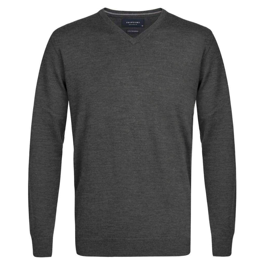 cdbc8ee6b4a Profuomo Merino Wool V-Neck Jumper, Anthracite, PP0J00201 - Square Mile of  London