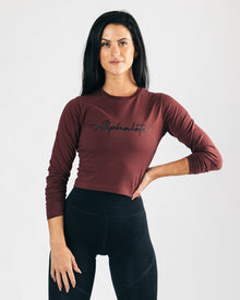 Signature Long Sleeve Crop - Muted Maroon
