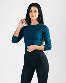 Signature Long Sleeve Crop - Muted Blue