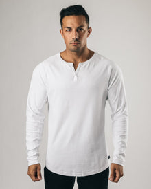 Lux Long Sleeve Henley - White