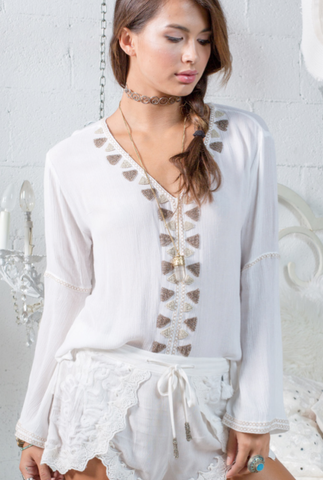 White Blouse with Flair Sleeves from Punta Mita