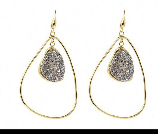 Macia Moran 18K Gold Dipped with Druzy Statemnt Earrings