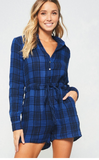 Blue Plaid L/S Romper