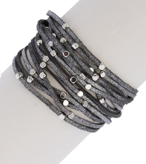 Gunmetal grey with silver accent metallic clasp bracelet