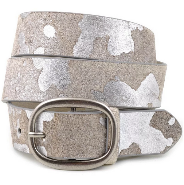 Metallic & Genuine Cowhide Belt