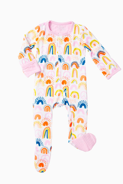 Signature Rainbow Footie, Pink