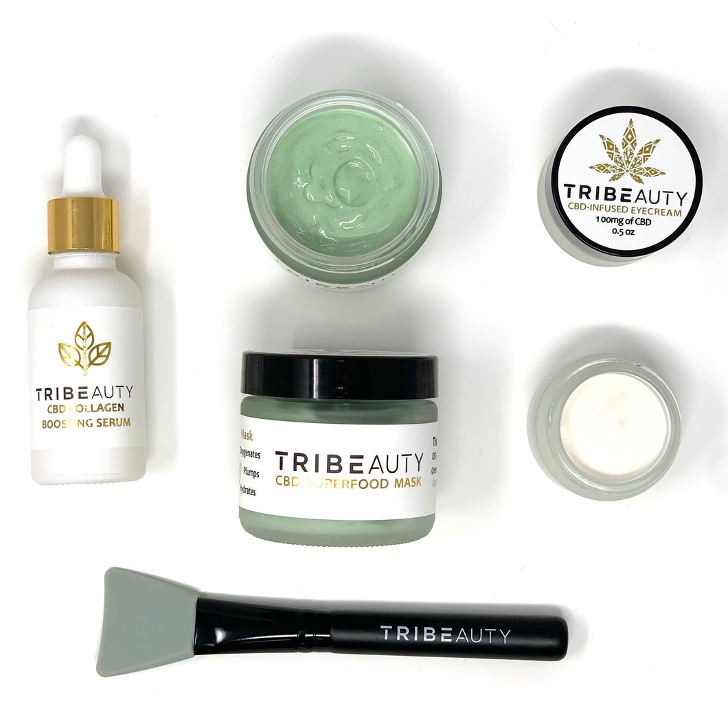TRIBEauty CBD Skincare Bundle | Eye Cream, Face Mask & Brightening Serum (Save $40)
