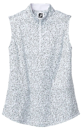 Women's Sleeveless Interlock Granite Print White