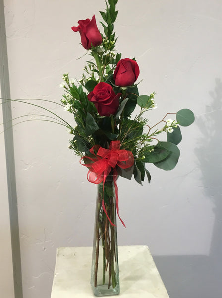 Three Rose Bud Vase