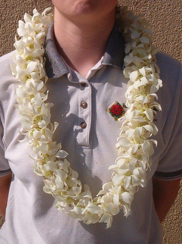 Dendrobium Orchid Lei - Double White