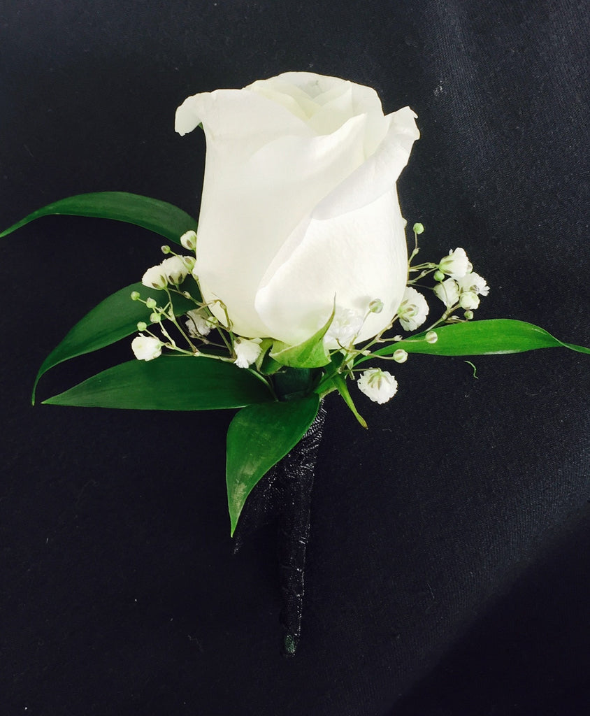 White rose boutonniere swenson silacci flowers white rose boutonniere mightylinksfo Image collections