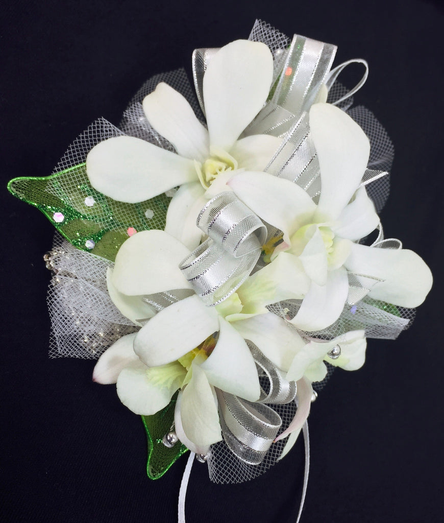 White Dendrobium Orchids Prom Corsage