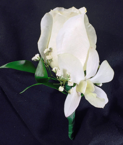 White Rose and Orchid Boutonniere