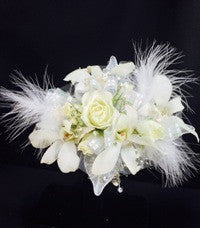 White Roses and Dendrobium Orchids Corsage