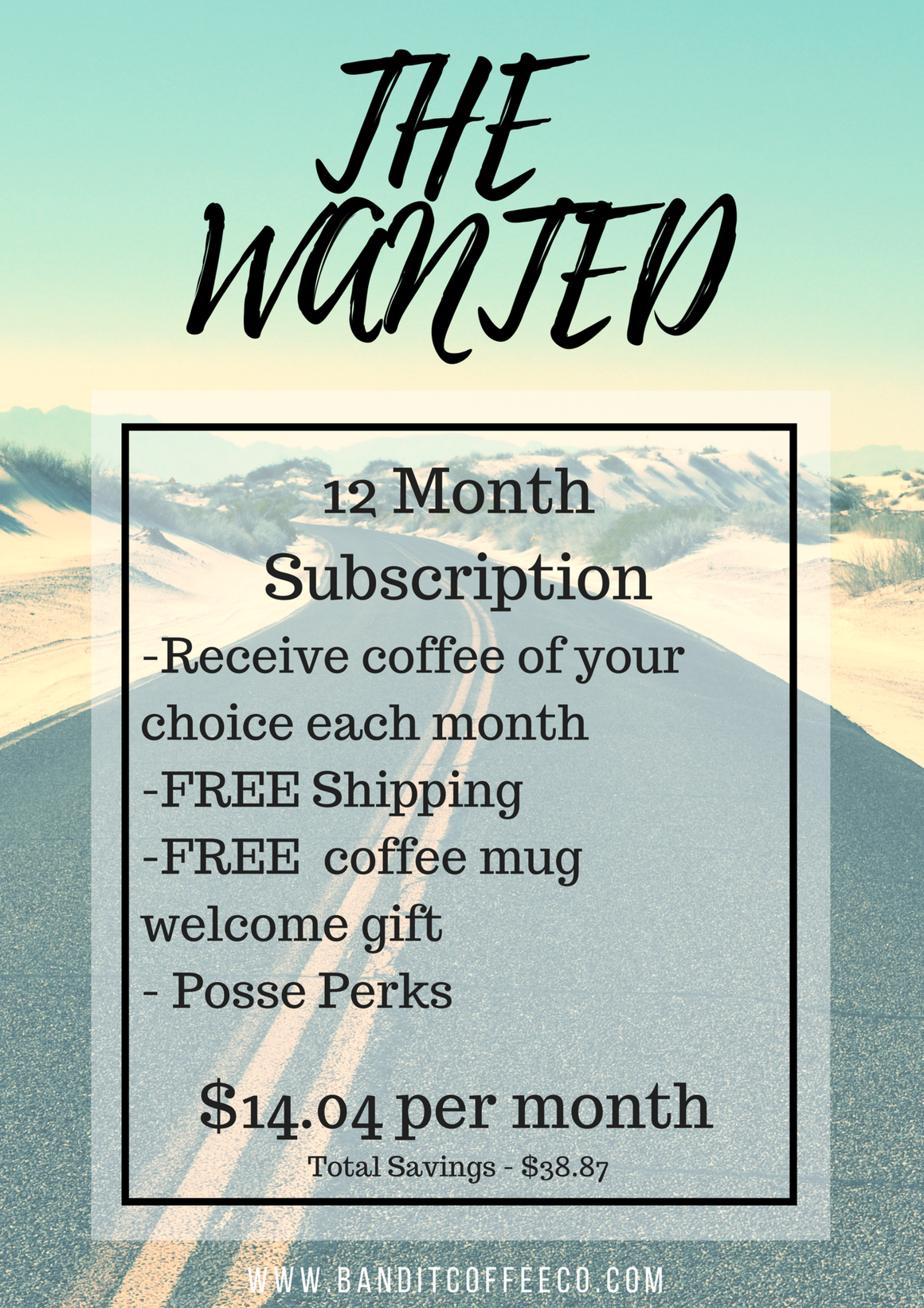 THE WANTED - Bandit Coffee Co. Coffee - low acidity coffee, Coffee - subscription coffee, THE WANTED - luxury coffee, Coffee - on-demand coffee, Coffee - instant coffee,