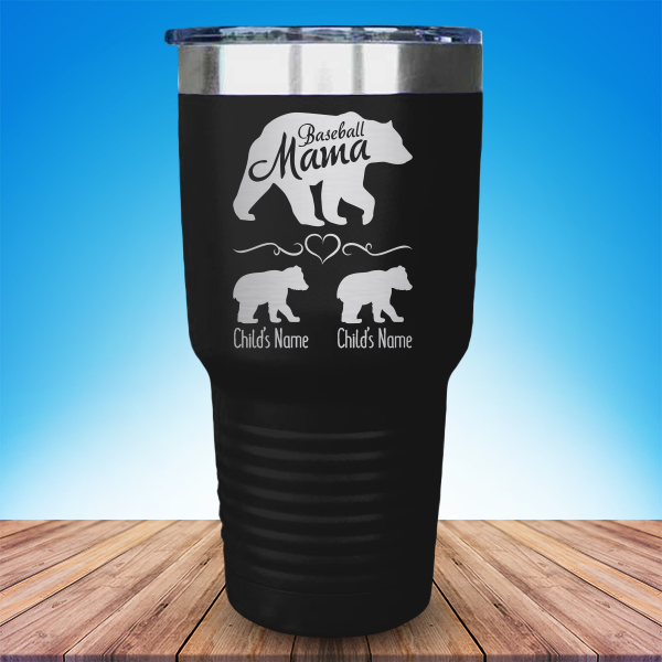 3f98fe3b0e4 Baseball Mama Bear with Child's Name (CUSTOM) Laser Etched Tumbler ...
