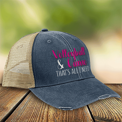 Volleyball & Camo That's All I Need Premium Trucker Hat SA188