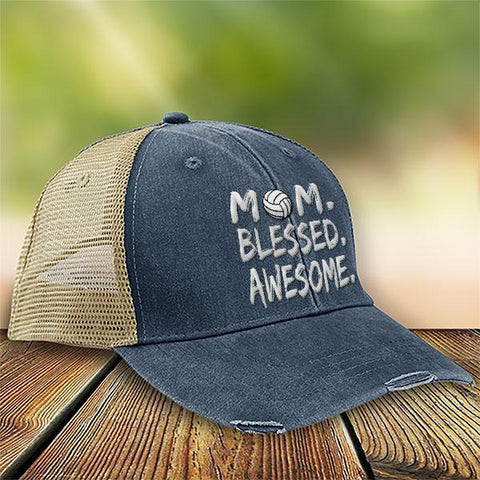 Volleyball Mom Blessed Awesome Premium Trucker Hat SA170