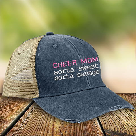 Sorta Sweet Sorta Savage Cheer Mom Premium Trucker Hat JA221