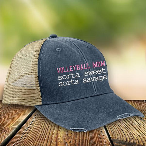 Sorta Sweet Sorta Savage Volleyball Mom Premium Trucker Hat JA196