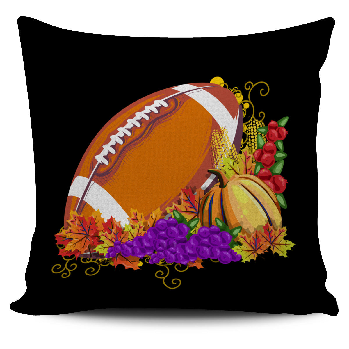 Football Autumn Leaves Grapes Pumpkin Pillow Cover EV81