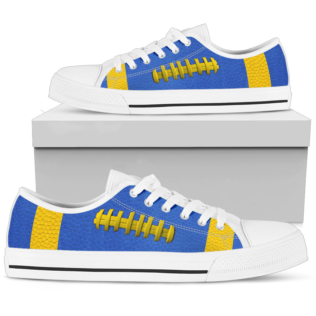 Football Royal Blue With Gold Premium Low Top Shoes