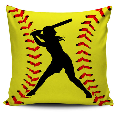 Softball Silhouette Pillow Covers