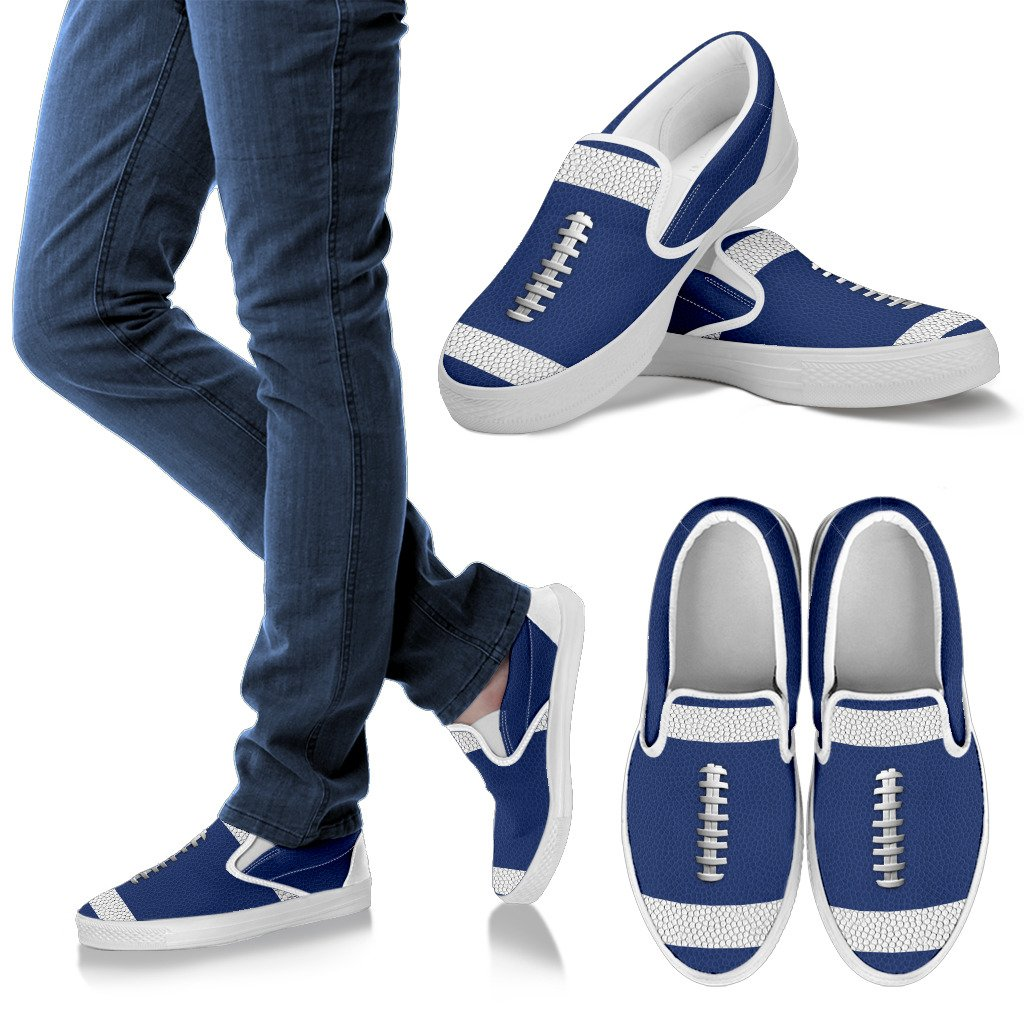 Football Blue Premium Slip-On Shoes