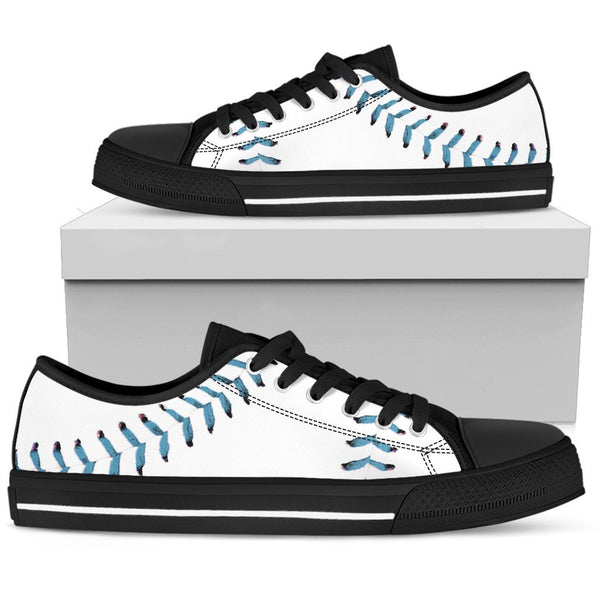 Baseball Light Blue Premium Low Top Shoes