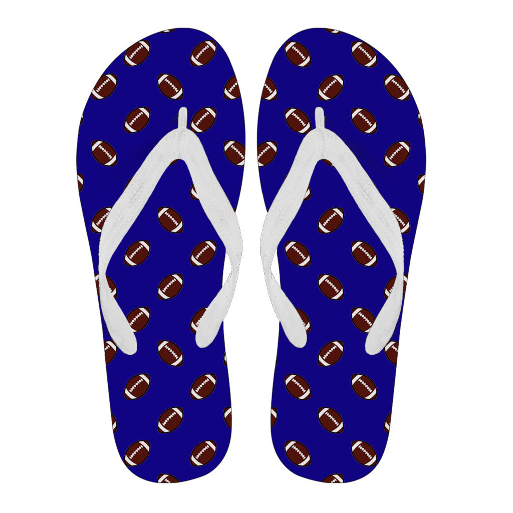 Football Pattern Navy Blue Flip Flops