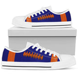 Football Navy Blue With Burnt Orange Premium Low Top Shoes