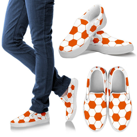 Soccer Orange Premium Slip-On Shoes