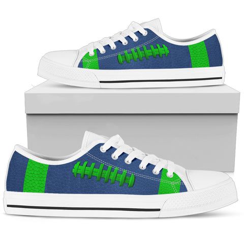Football Blue With Light Green Premium Low Top Shoes