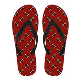 Football Pattern Crimson Red Flip Flops