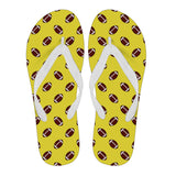 Football Pattern Gold Flip Flops