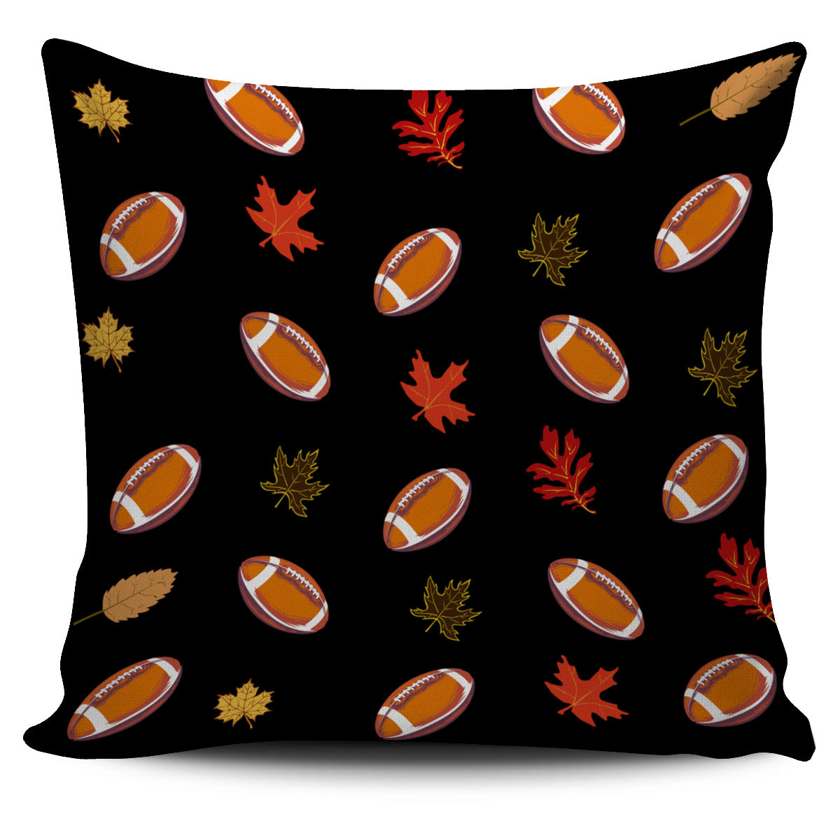 Football Autumn Leaves Pattern Pillow Cover EV79
