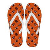 Football Pattern Orange Flip Flops