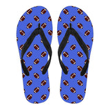 Football Pattern Royal Blue Flip Flops