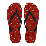 Football Pattern Red Flip Flops