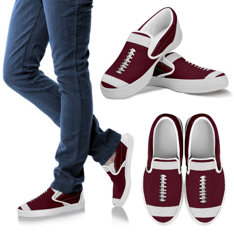 Football Maroon Premium Slip-On Shoes