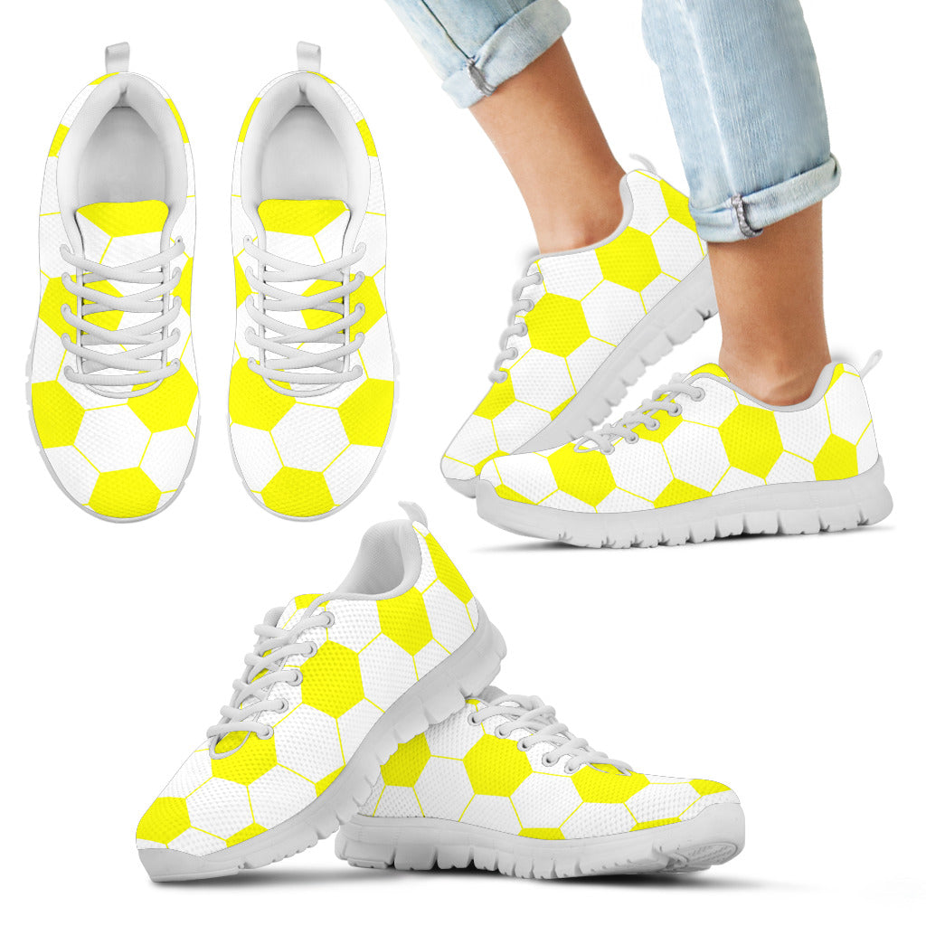 Soccer Yellow Premium Kids Sneakers