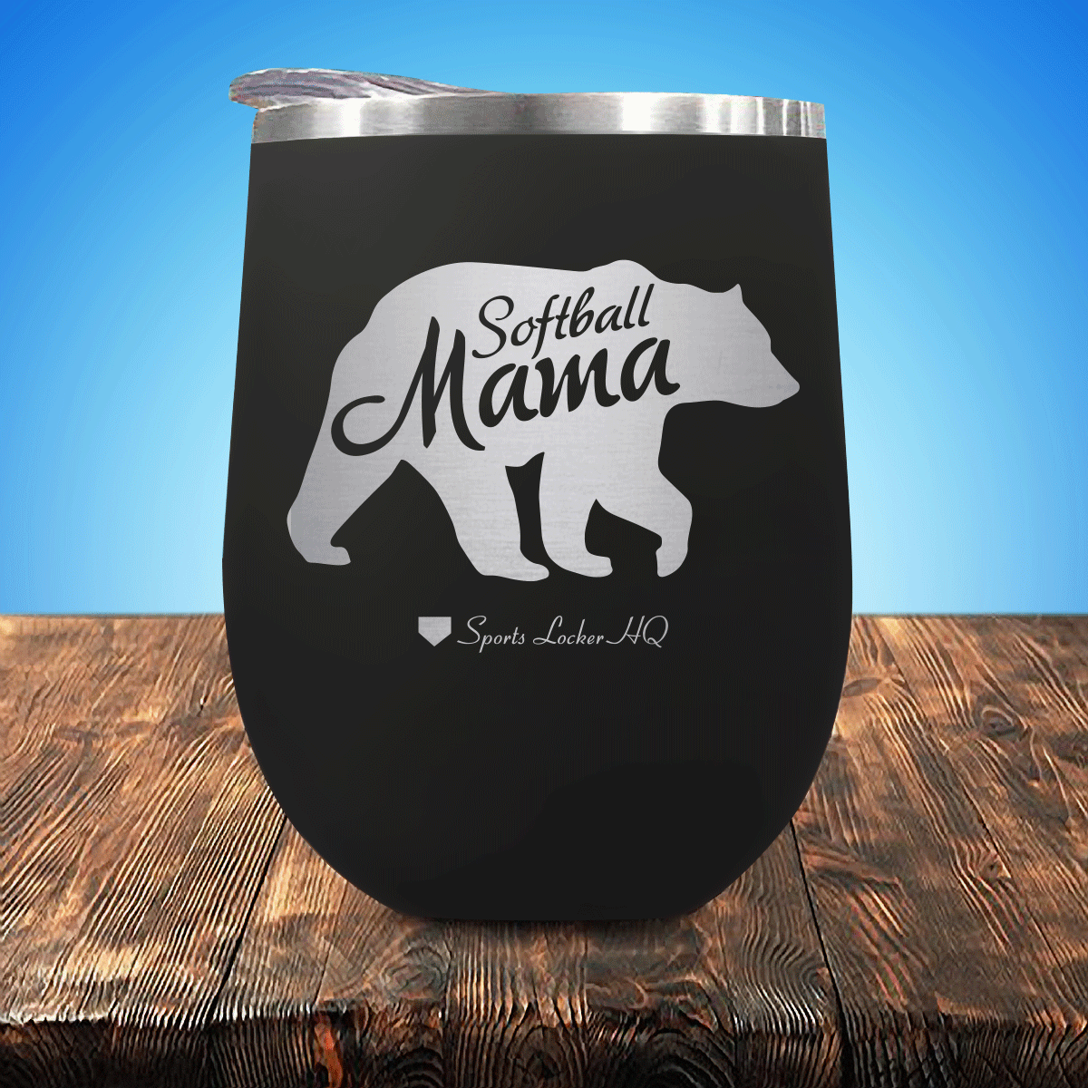 Softball Mama Bear Stemless Wine Cup